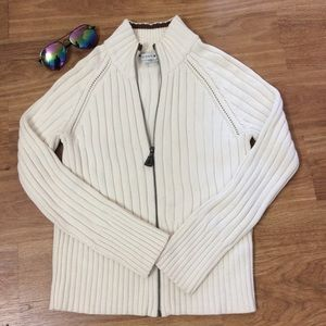 Cream Front Zip Cotton Cardigan